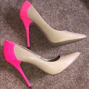 Nude and Neon Pink Heels